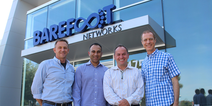 From left: Nick McKeown, co-founder, chief scientist, and chairman of Barefoot Networks; Navin Shenoy, Intel executive vice president and general manager of the Data Center Group; Bob Swan, Intel CEO; and Craig Barratt, Barefoot Networks CEO, stand outside Barefoot Networks' headquarters after the announcement of Intel's acquisition of the Santa Clara, CA, company on Monday, June 10, 2019.