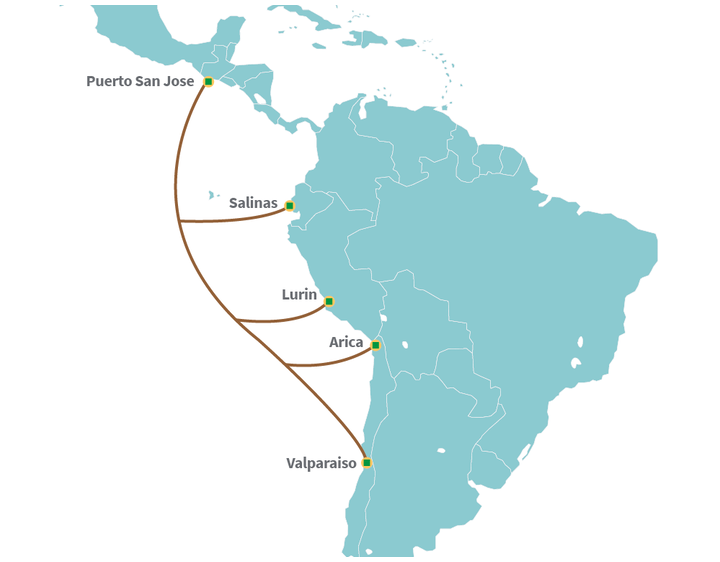 The planned submarine cable will run from Guatemala to Chile.