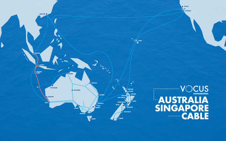 The Australia Singapore Cable (in red above) is a part of a network of submarine cables Vocus operates.